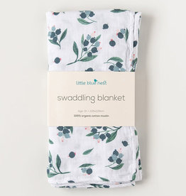 Little Blue Nest Swaddle Blanket Blueberry