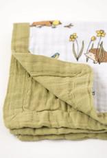 Little Blue Nest Comforter Muslin Woodland Hedgehog