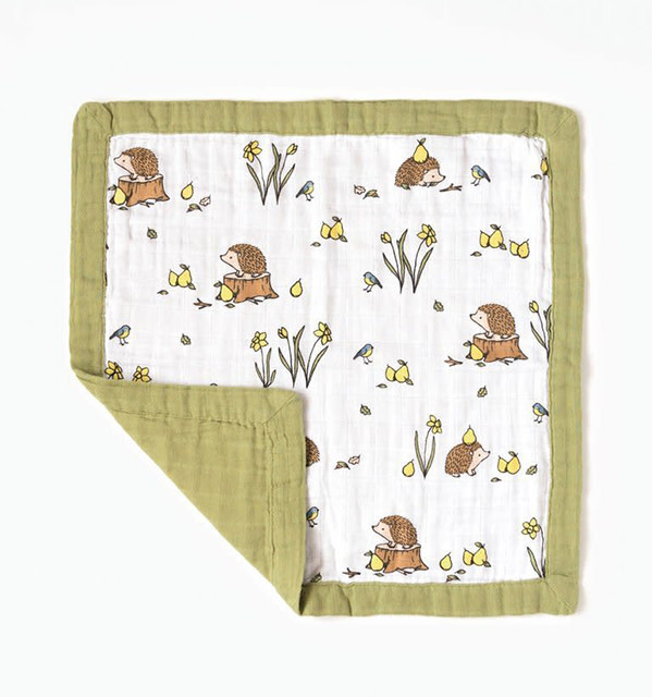 Little Blue Nest Comforter Muslin Woodland Hedgehog