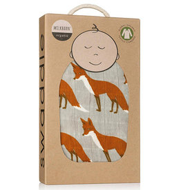 Milkbarn Organic Swaddle Blanket Orange Fox