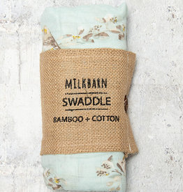 Milkbarn Bamboo Swaddle Blanket Blue Bird