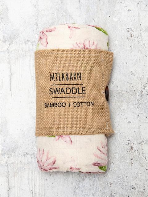 Milkbarn Bamboo Swaddle Blanket Water Lily