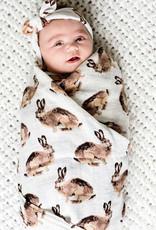 Milkbarn Organic Swaddle Blanket Brown Bunny