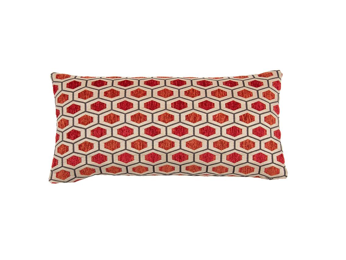 Kreatelier Hexagon Pillow in Reds 10 x 21in