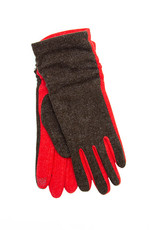 Santacana Knitted Bicolor Pleate Glove Red