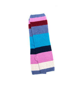 Santacana Wool and Cashmere Knitted Striped Glove Blue