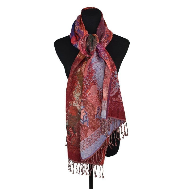 Dupatta Designs Fountainhead Scarf in Red and Purple