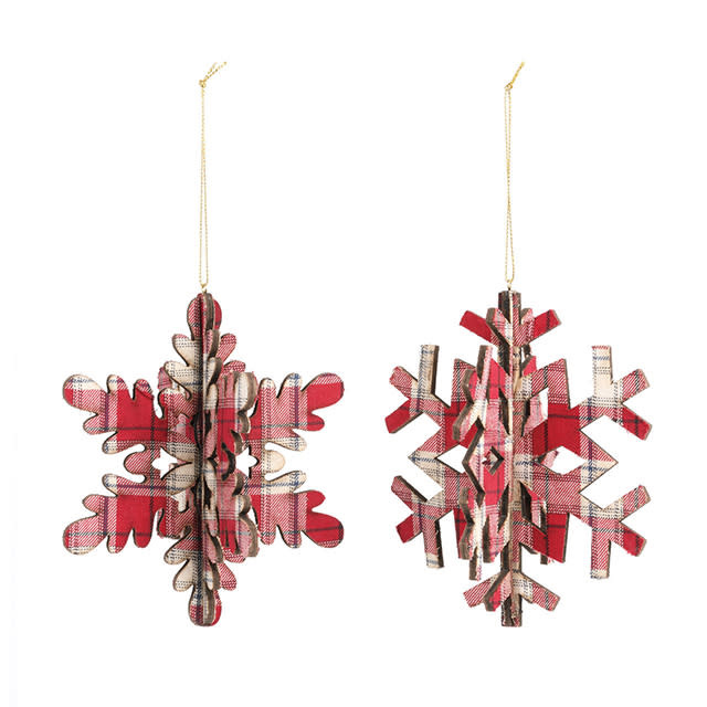 Plaid Snowflake Rounded Ornament