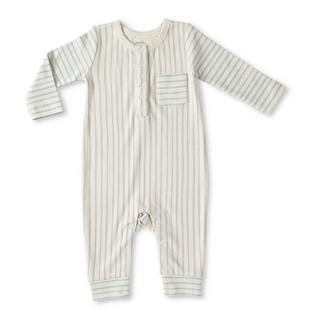 Pehr Designs Stripes Away Romper Pebble Sea