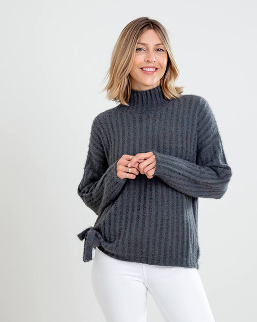 Mer-Sea & Co Chalet Tie Sweater Slate
