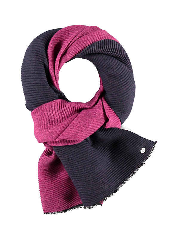 Fraas Double Face Plisse Scarf in Dark Navy