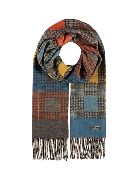 Fraas Squared Houndstooth Scarf Royal