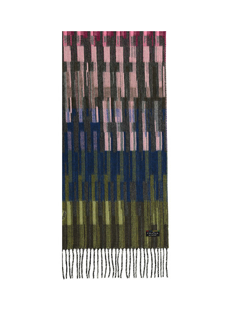 Fraas Linear Ombre Scarf Olive