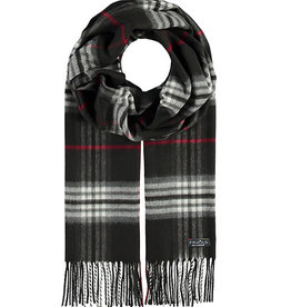 Fraas Plaid Cashmink Scarf Black