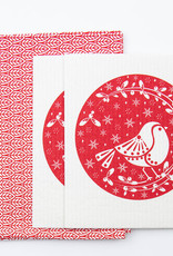 Esthetic Living Tea Towel and Swedish Dishcloth Leaves Robins Red