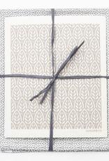 Esthetic Living Tea Towel and Swedish Dishcloth Leaves Grey