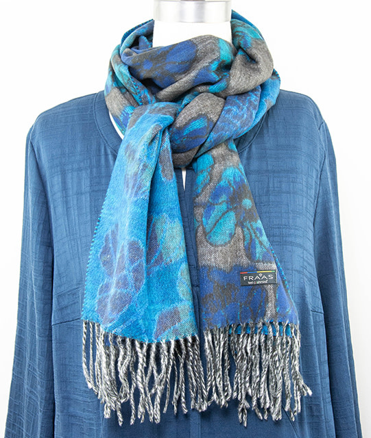 Fraas Floral Sketch Scarf Navy