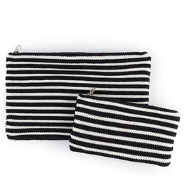 Verloop Rib Small Zip Pouch Black White