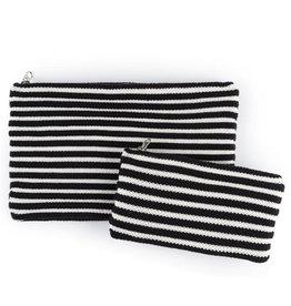 Verloop Rib Zip Pouch Set Black White
