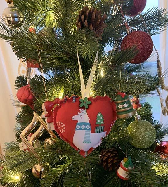 Kreatelier Fabric Heart Ornament Llama