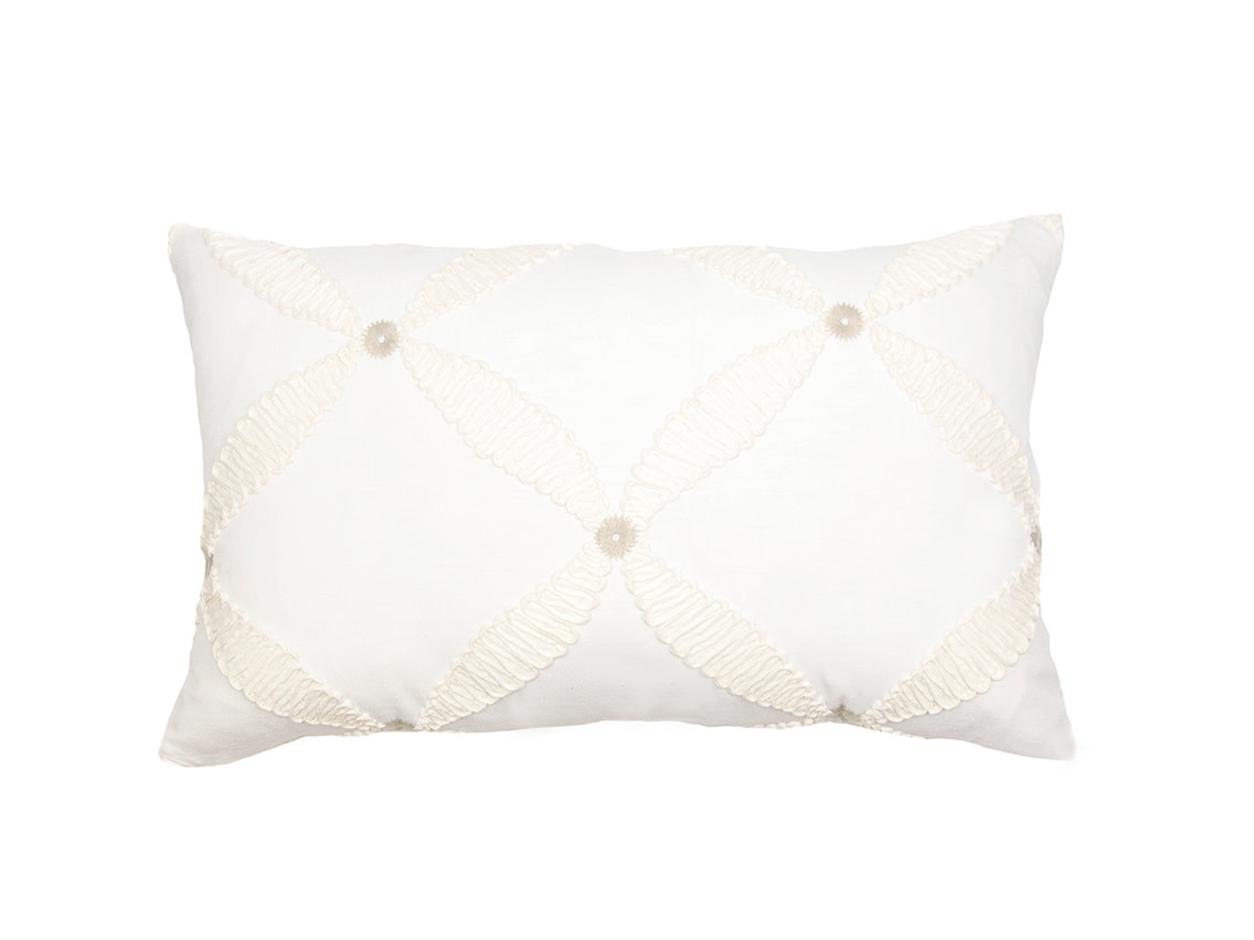 Kreatelier Embroidered Pillow in Cream 14 x 23in