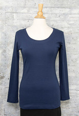 Necessitees Long Sleeve Tunic U Neck Navy