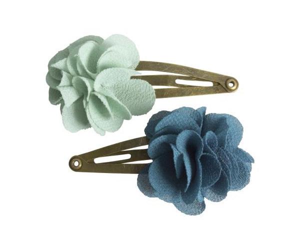 Maileg Hair Clip Fluffy Flower Aqua 2pc