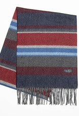 Fraas Striped Herringbone Scarf in Navy