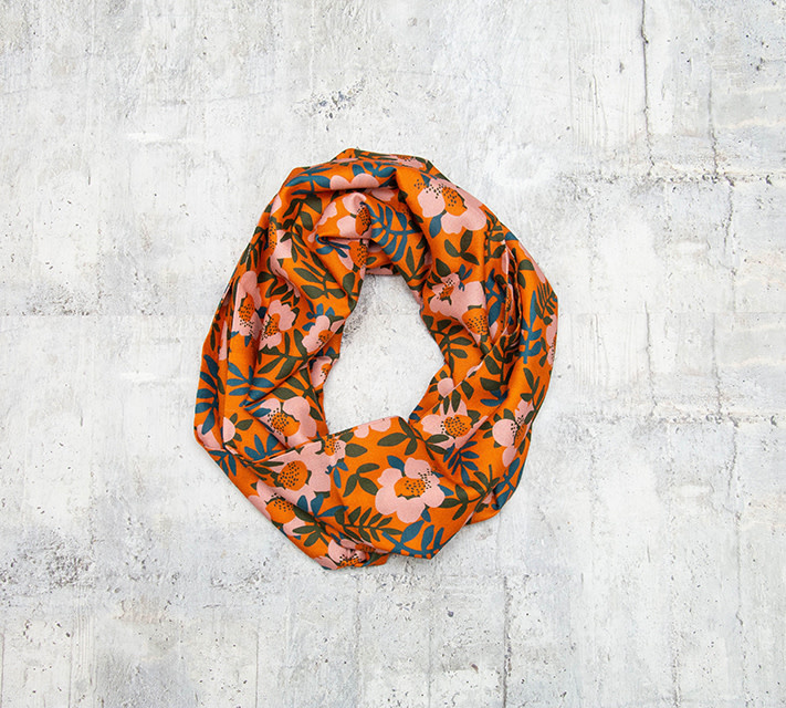 Make Ends Meet Infinity Scarf Coral Multi