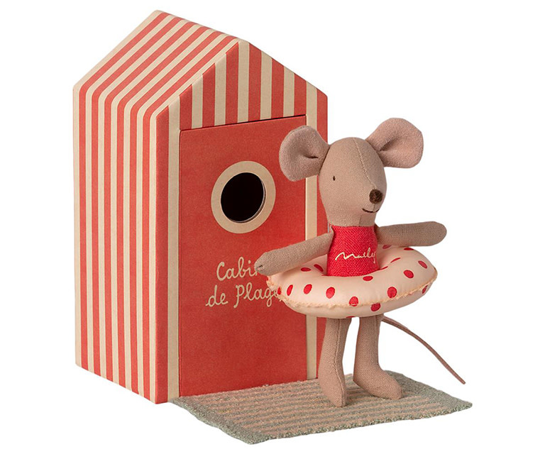 Maileg Mouse Little Sister Beach Cabin de Plage