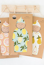 Milkbarn Bamboo Gown and Hat Set Water Lily