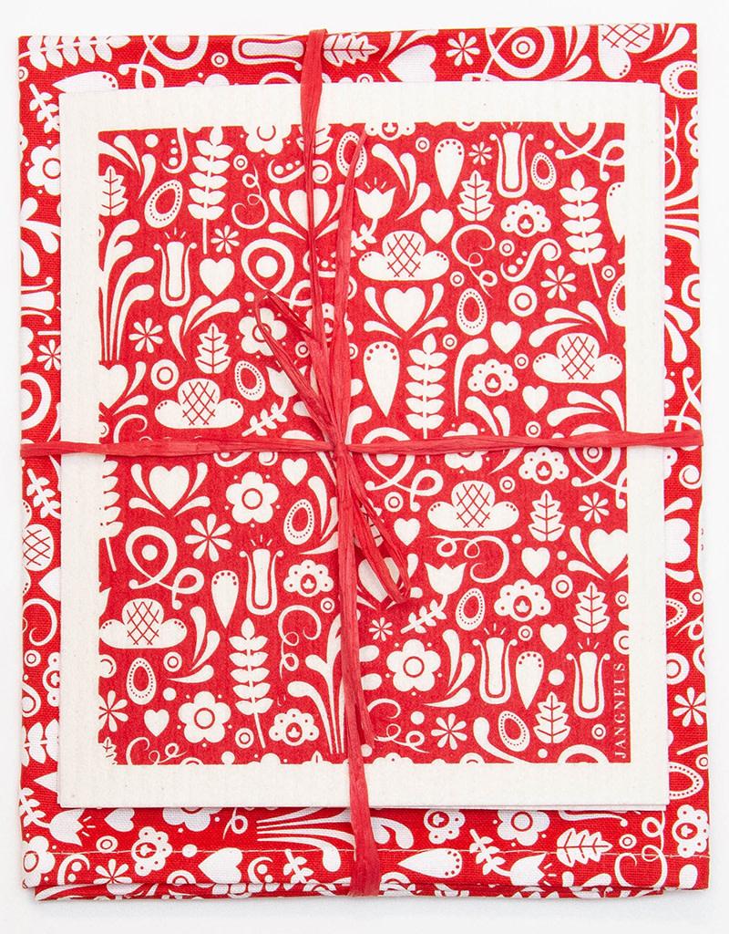 Esthetic Living Tea Towel and Swedish Dishcloth Dala Red