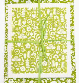 Esthetic Living Tea Towel and Swedish Dishcloth Dala Green