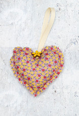 Kreatelier Fabric Heart Ornament Floral Yellow and Red
