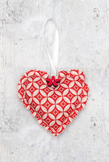 Kreatelier Fabric Heart Ornament Geometric Red and White