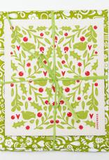 Esthetic Living Tea Towel and Swedish Dishcloth Leaves Holly Green