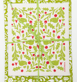 Esthetic Living Tea Towel and Swedish Dishcloth Leaves Holly Green