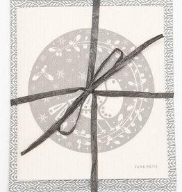 Esthetic Living Tea Towel and Swedish Dishcloth Leaves Partridge Grey
