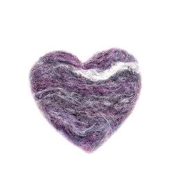 Karen Kemp Felt Heart Pin Purple