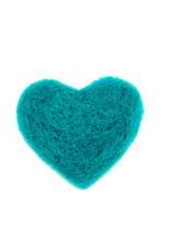 Karen Kemp Felt Heart Pin Turquoise
