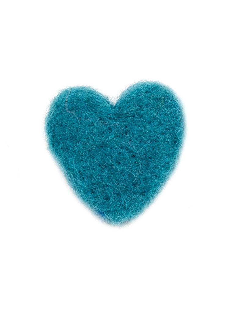 Karen Kemp Felt Heart Pin Teal