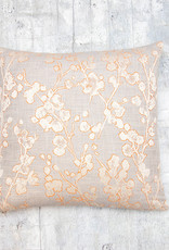 Kreatelier Cherry Blossom Pillow Grey and Orange 17 x 17in