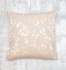 Kreatelier Cherry Blossom Pillow Grey and Orange 18 x 18in