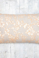Kreatelier Cherry Blossom Pillow  Grey and Orange 14 x 22in