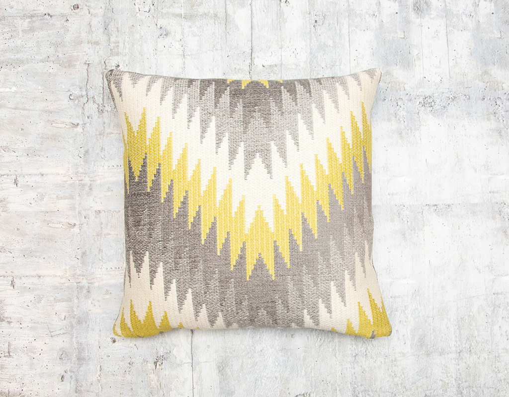 Kreatelier Chevron Pillow Grey and Chartreuse 17 x 17in