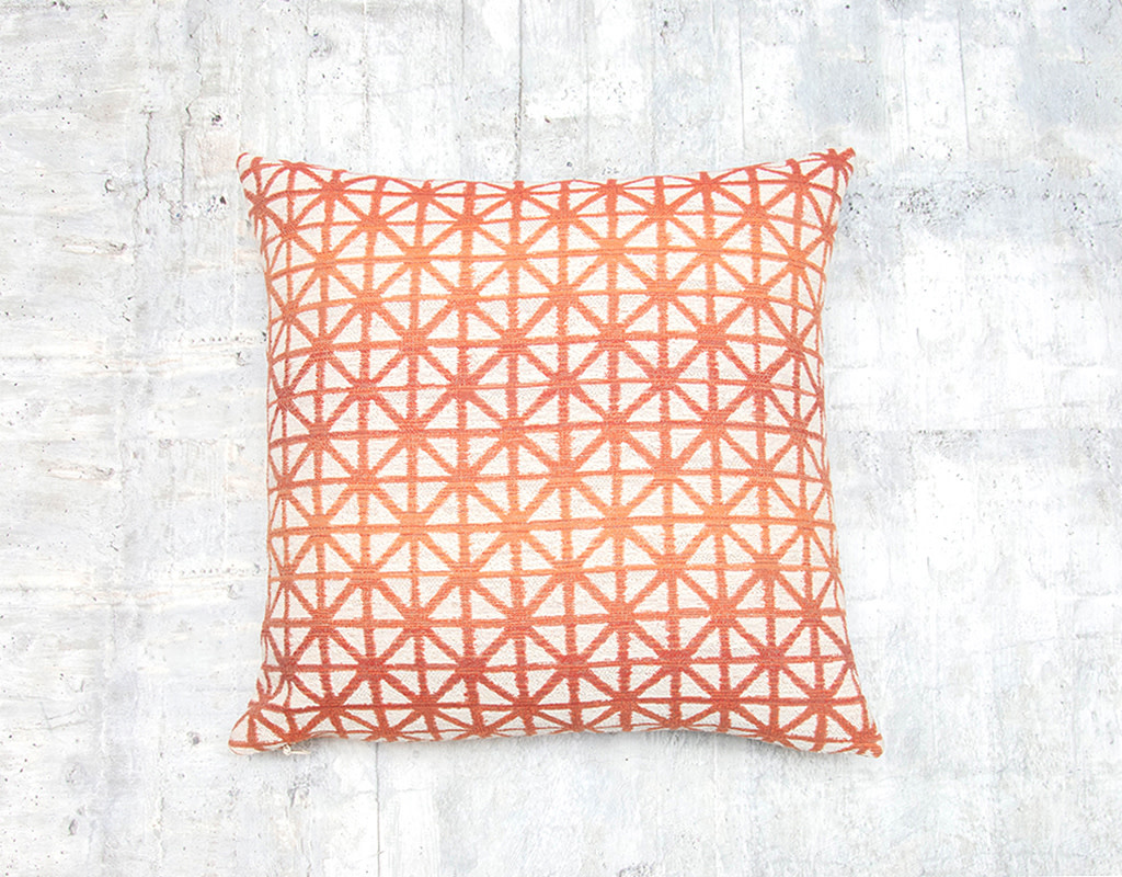 Kreatelier Geometric Pillow in Orange 17 x 17in
