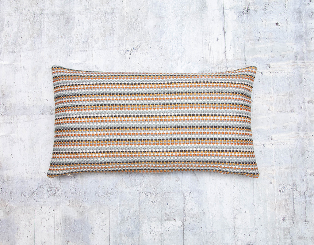 Kreatelier Embroidered Striped Pillow in Rust and Grey 10 x 18in