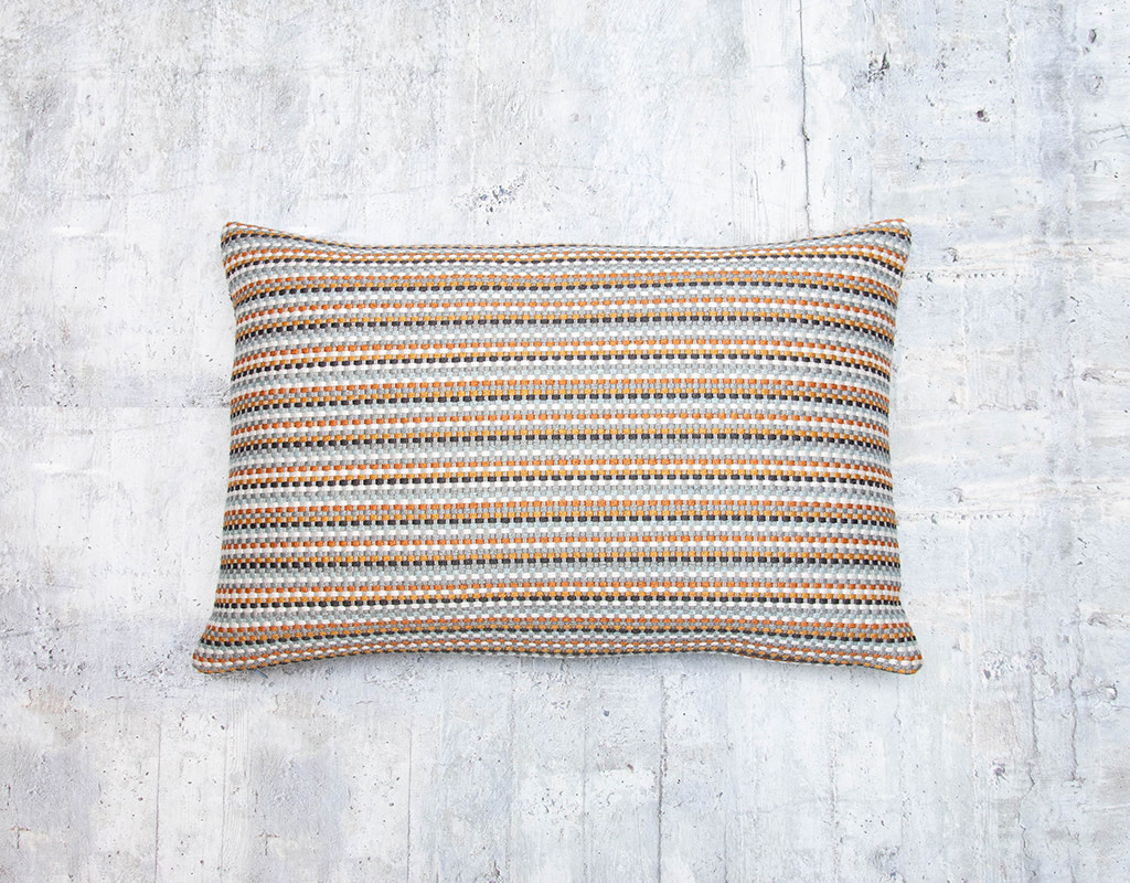 Kreatelier Embroidered Striped Pillow in Rust and Grey 12 x 19in