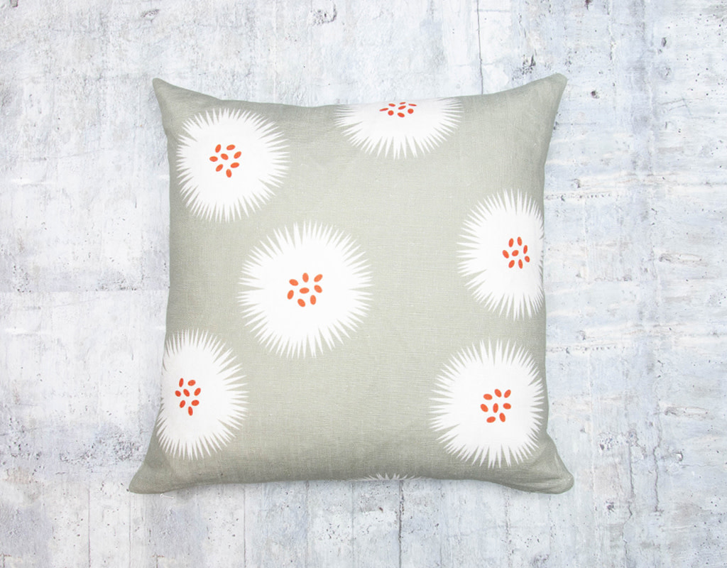 Kreatelier Seed Puff Grey Pillow 18 x 18in