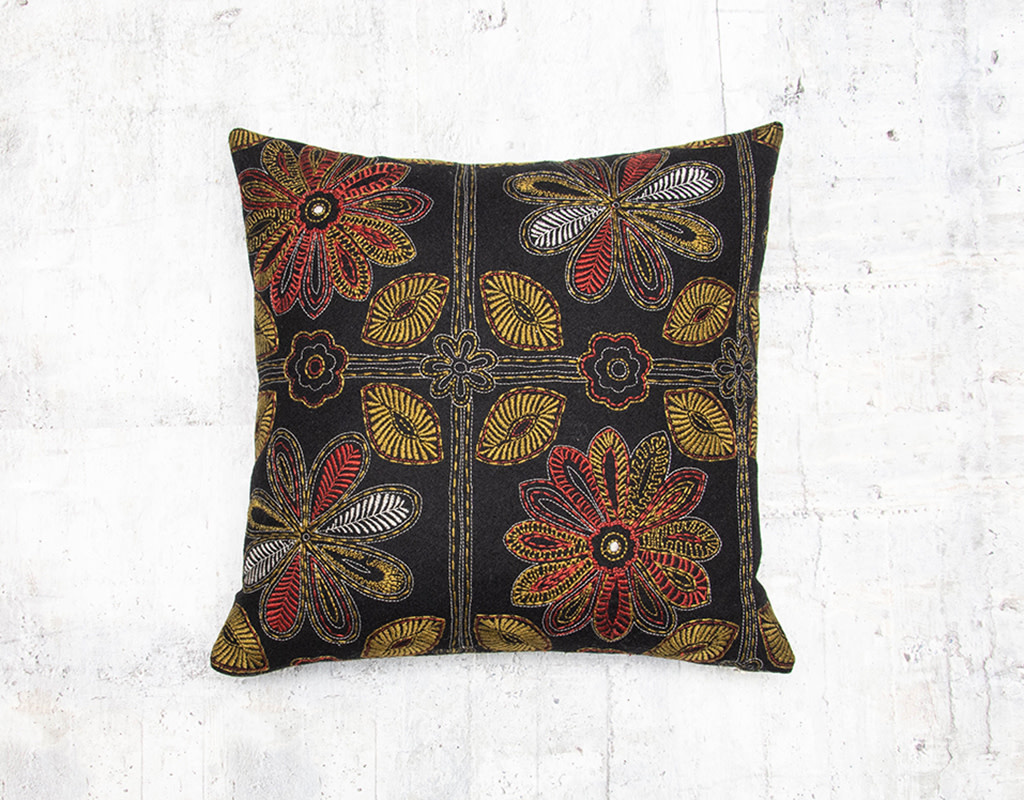 Kreatelier Embroidered Floral Pillow Black 16 x 16in